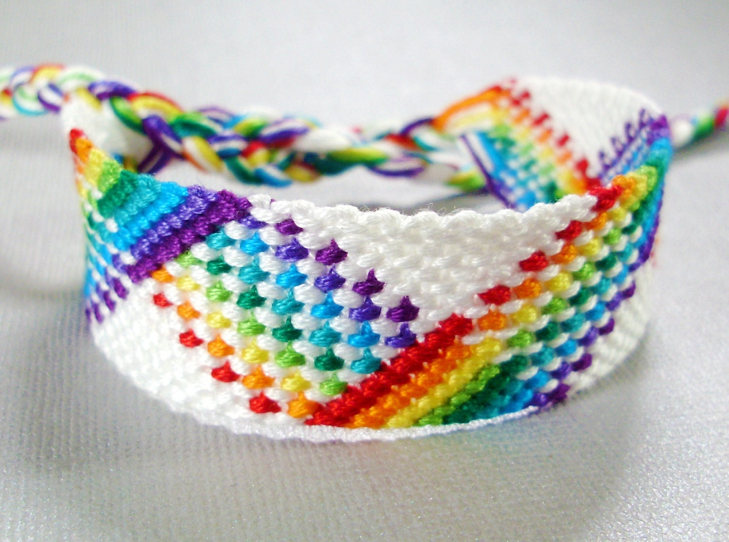 White and rainbow plaid friendship bracelet nine color
