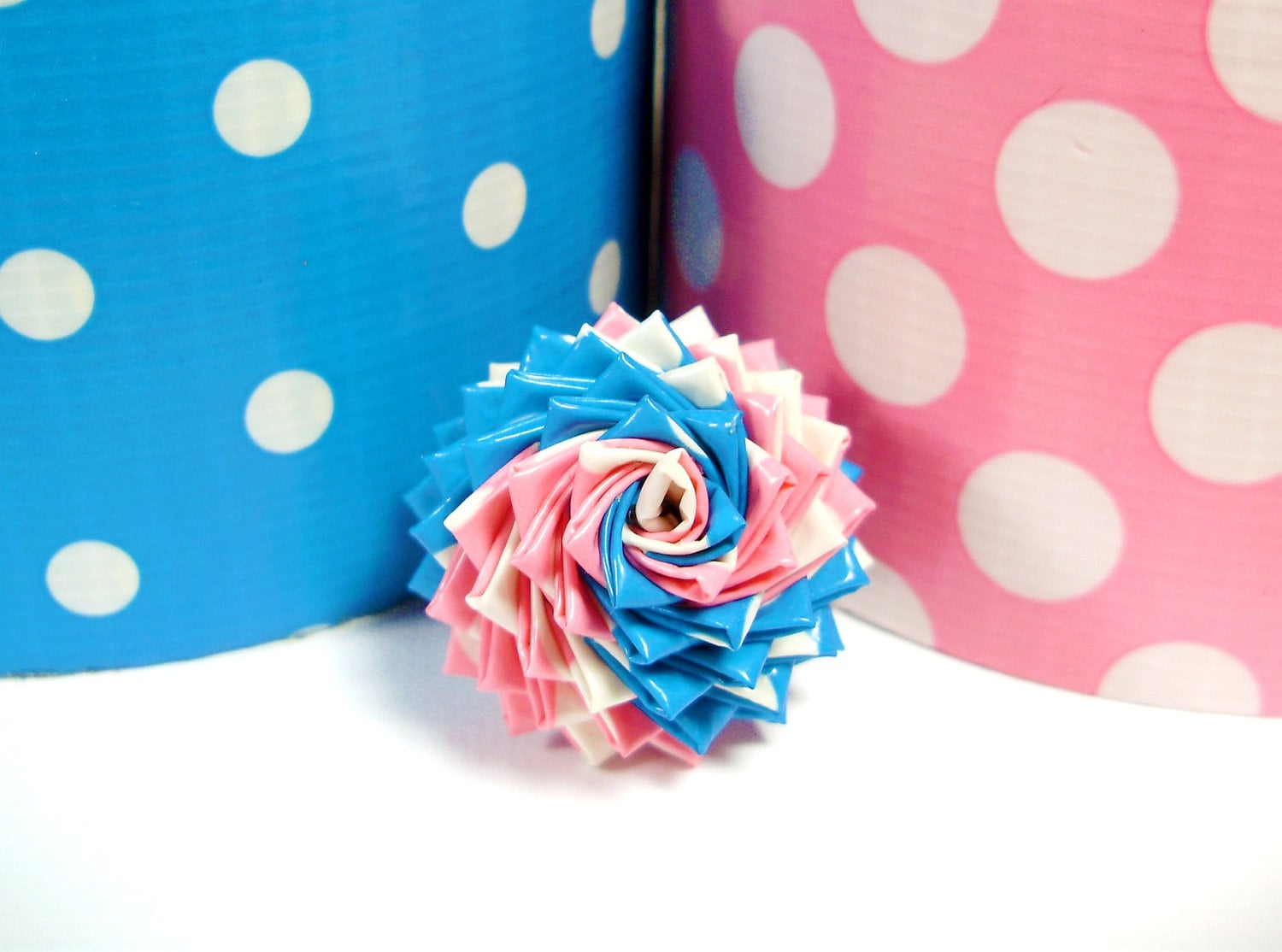 Mixed Polka Dots Duct Tape Rose Ring Pink White By
