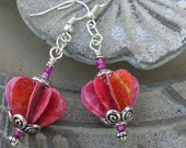 Pink and Peach Heart Earrings
