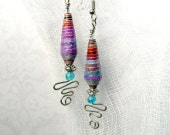Dangle Earrings with Purple and Red Paper Beads