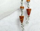 Paper Bead Earrings in Red and Orange
