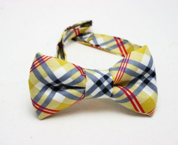 Bow tie - Plaid with Red, Grey, and Yellow - Fits newborns through adults
