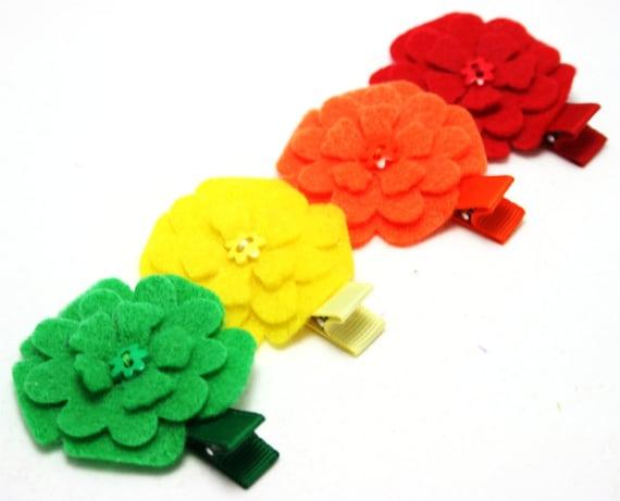Small Flower Hair Clip Set - Felt Flowers in Rainbow Colors- No Slip