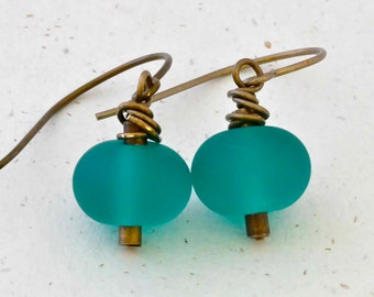 Teal Green Etched Bead Earrings on Natural Brass Ear Wire