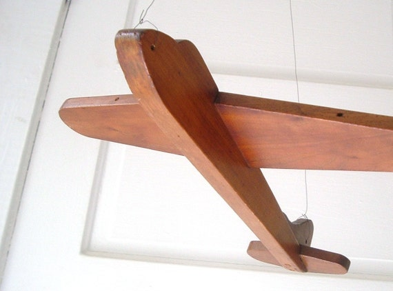 Vintage Folk Art Wood Airplane