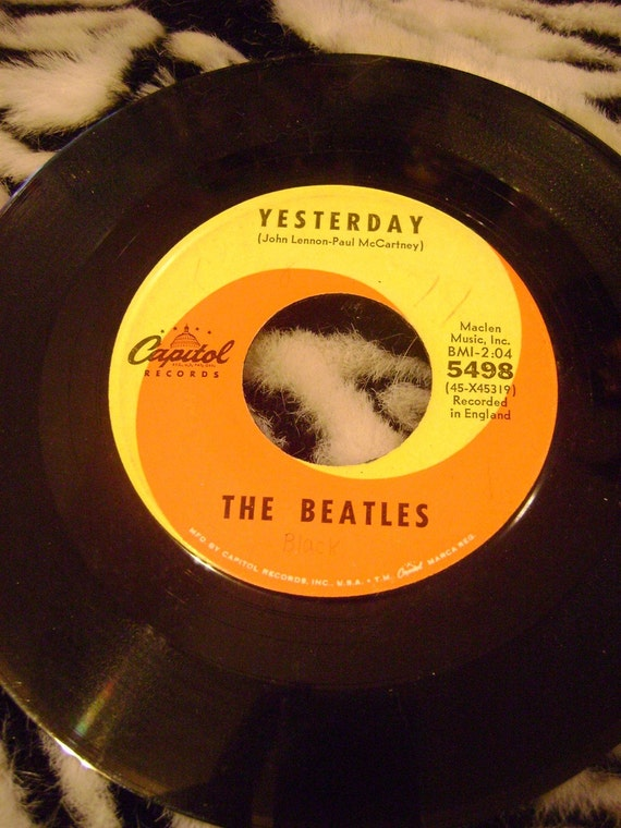 Vintage Beatles 45 Rpm Record Yesterday Act By Frenzyfinds