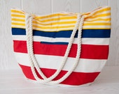 Summer Sale. Large tote bag, beach bag. Carry all bag. Nautical stripes in yellow, blue and red