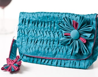 Ruffled wristlet clutch embellished with a kanzashi flower. OOAK