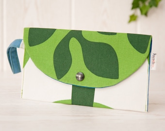 Postcard clutch or wristlet clutch. Blue green and white retro style printed cotton fabric. OOAK