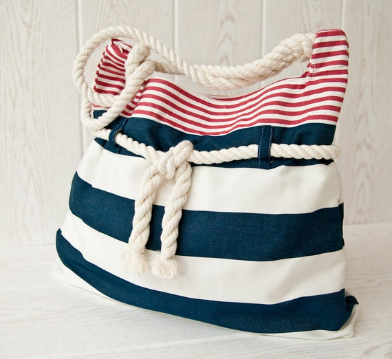 Large nautical beach bag in red, white and blue