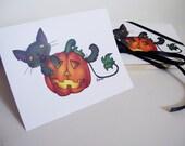 Halloween Cat Art Print Greeting Cards
