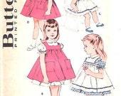 Vintage 50s Girls Dress & Pinafore Pattern UNCUT FF 23 1/2 bust Butterick 9315