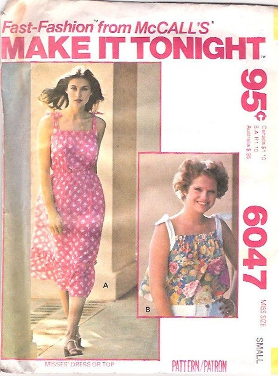 Vintage 70s Dress Pattern Sundress Sun Dress Pattern FF UNCUT small McCalls 6047