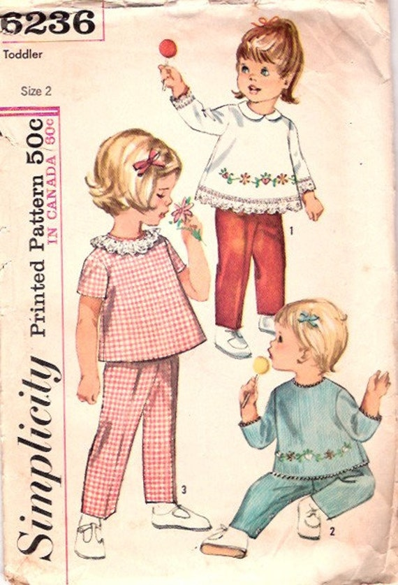Vintage 60s Toddler Clothes Pattern Top and Pants with Flower Transfer size 2 Simplicity 6236
