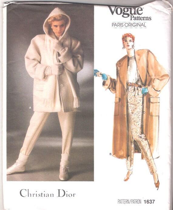 Vintage Coat Pattern 80s Vogue Paris Christian Dior Hooded Jacket Stirrup Pants L 38 bust Size 16 UNCUT FF