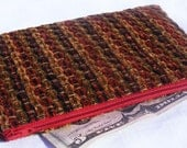 Zipper Organizer Pouch in Red, Greeen, Taupe and Brown