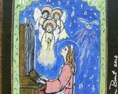 Saint Cecilia Catholic Saint Retablo gift for musician Music lover's St. Cecilia RETABLO - PRINT