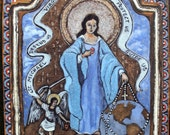 Art4thesoul Catholic Art retablo virginMary Blessed Mother Our Lady Virgin Most Powerful Housewarming family gift idea - Retablo