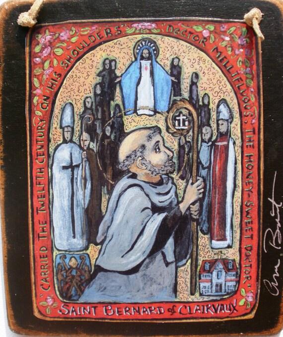 Saint Bernard Valentine Gift for Him or Her Spanish Colonial Art Retablo St. Bernard of Clairvaux - PRINT