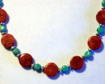Natural Red Sponge Coral Necklace Large Round Coral Turquoise Beaded Necklace Turquoise Howlite Bead Necklace Tibetan Silver Bead Necklace