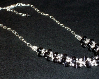 Unique Black Cat Eye Faceted Glass Beaded Necklace Black and Silver Small Bead Necklace Weaved Braided Metal Bead Necklace Costume Jewelry