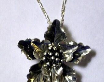 Large Tibetan Silver Flower Pendant Necklace Antique Silver Flower Bead Necklace Big Metal Flower Necklace Sterling Silver Chain Necklace