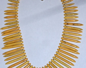 Big Bold Chunky Yellow Turquoise Stick Beaded Necklace Large Yellow Howlite Dagger Bead Necklace Graduated Necklace Stone Fringe Necklace