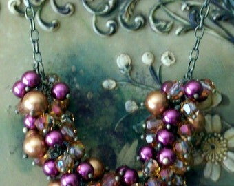 Copper Swarovski Pearl Crystal Cluster Necklace Purple Glass Pearl Beaded Necklace Multi Color Big Pearl Necklace Pearl Bridesmaid Necklace