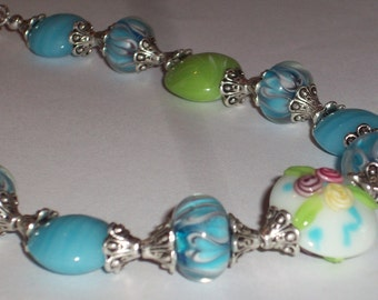 Blue Green Heart Lampwork Glass Beaded Necklace Colorful Flower Roses Lampwork Pendant Necklace Lampwork Jewelry Large Glass Bead Necklace
