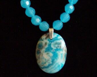 Blue Crazy Lace Agate Pendant Necklace Sky Blue Lampwork Glass Bead Necklace Large Blue Stone Bead Necklace Blue Agate Necklace Jewelry