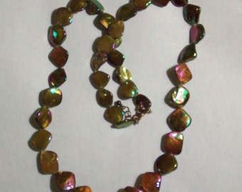 Large Bronze AB Shell Mother of Pearl Bead Necklace Chunky Graduated Shell Necklace Shell Jewelry Big Colorful Shell Bead Long Necklace