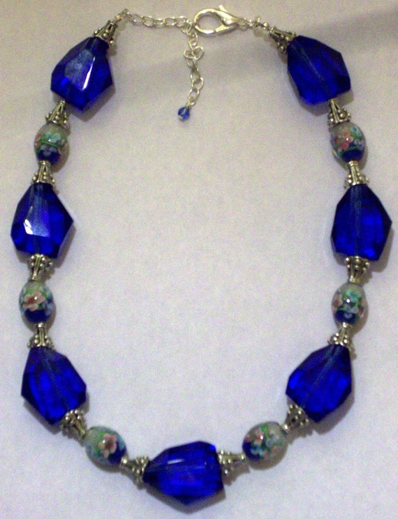 Reserved-Sale 40% Off-Vivid Royal Blue Glass Nuggets and Flower Lampwork Glass Bead Necklace