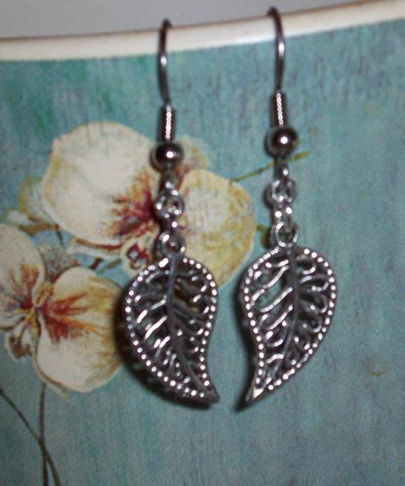 Small Tibetan Silver Leaf Earrings Antique Silver Leaf Bead Earrings Silver Filigree Earrings Leaf Dangle Earrings Simple Leaf Earrings