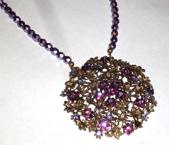 RESERVED-SALE 40% Off-Unique One of a Kind Antique Bronze Lavender Purple Czech Crystal Pendant Necklace Gifts under 100