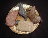 Aged Primitive Farm Animal Sugar Cookies Bowl Fillers, Ornies, Tucks. Pig, Horse, Crow, Sheep E Pattern