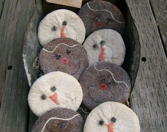 Aged Snowman and Gingerbread Man Christmas Cookies, Bowl Fillers, Tucks, Ornies, Cupboard Dolls E  pattern
