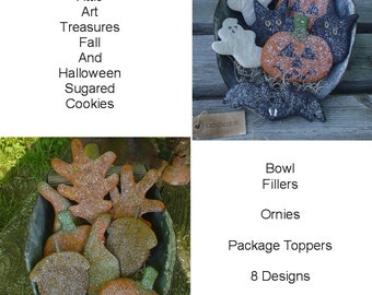 Aged Fall and Halloween Sugar Cookies, Primitive Bowl Fillers, Ornaments, Tucks, Cupboard Dolls - E Pattern