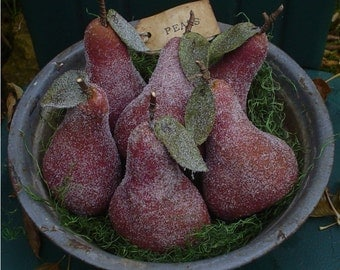 6 Aged Big Red Ripe Sugared Christmas OR Everyday Pears Bowl Fillers, Ornaments, Ornies, Fruit Tucks, Cupboard Sitters