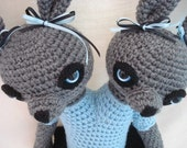 Special Listing for Lisa Amigurumi Crochet Animal Doll Siamese Twin Bunnies
