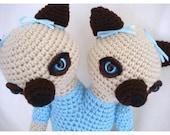 Siamese Cats Siamese Twins Amigurumi Crochet Animal Doll- Custom Made Free Shipping Domestic