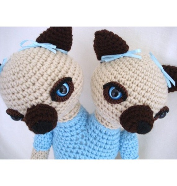 Siamese Cats Siamese Twins Amigurumi Crochet Animal Doll