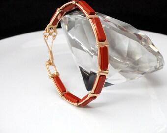 14 Karat Gold filled bangle bracelet with Red Jasper gemstones, beautiful and handmade