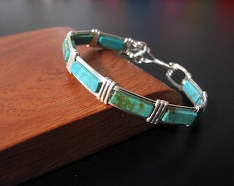 Sterling Silver bangle bracelet with Chinese Turquoise gem-stone beads, beautiful and handmade