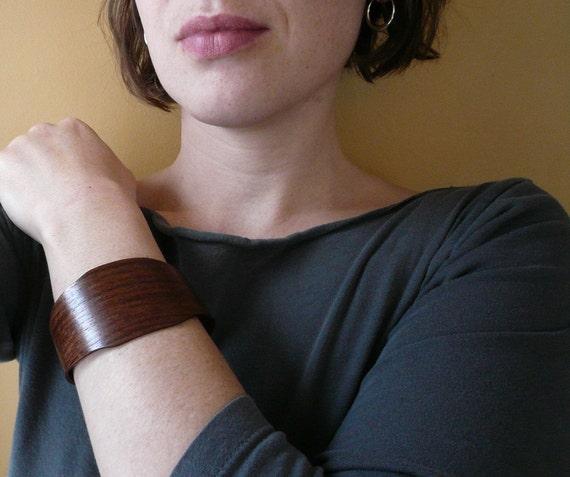 Clearance Item: Wide BlackWalnut bent wood Bracelet handmade