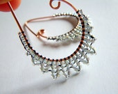 ETRUSCAN Filigree lace pearl shine earrings- beaded beads lace on handmade oxidised drop shaped hoops copper earrings