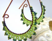 ETRUSCAN Filigree Lace Fern Grass Green Earrings - beaded lace on handmade oxidised drop shaped hoops copper earrings
