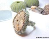 Mermaid Tears - Sea Stone Ring with Genuine Natural Amalfi Sea Pebble - MOON SURFACE