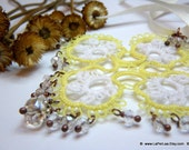 THE ROSE  - Tatted lace pale yellow and white  romantic pendant with czech sparkling crystals
