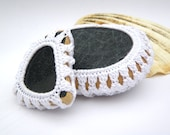Mermaid Tears - Black and White - 2 Crochet Covered Italian Genuine Sea Glass and Sea Pottery - recycled reuse