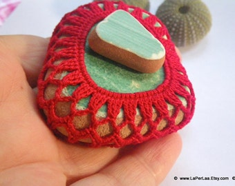 Crochet Mermaid Tears - Crochet Covered Genuine Sea Pottery Amalfi Coast -recycled reused upcycled sea pebbles - Paperweight